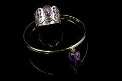 Amethyst Ring und Armband Stockbilder