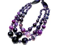 Amethyst semiprecious beads necklace Stock Photo