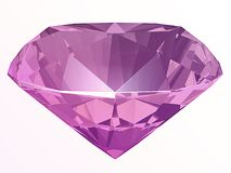 Amethyst, spinel or kunzite side view 3D illustration. Amethyst, spinel or kunzite side view render isolated on white background 3D illustration Royalty Free Stock Photography