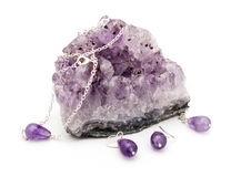 Amethyst. Stone on a white background isolated Royalty Free Stock Photo