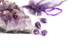 Amethyst. Stone on a white background isolated Royalty Free Stock Photography