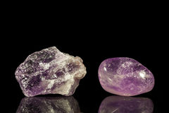 Amethyst, uncut and Tumble finishing Stock Photography