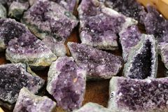 Amethysts. Beautiful , natural , purple crystals Royalty Free Stock Images