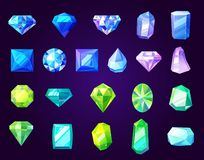 Amethysts, sapphires and emeralds, precious stones. Gemstones icons, cut gems and crystals of round, square or diamond shape. Vector jewelry, rhinestone and royalty free illustration