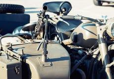 Ametralladora montada en el coche lateral del veterano Imágenes de archivo libres de regalías
