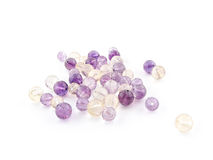 Ametrine amethyst beads in purple, violet and yellow colors Stock Photography