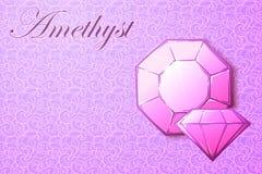 Ametystowy gemstone na deseniowym tle Zdjęcie Royalty Free