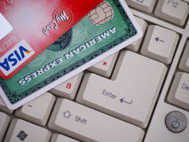 Amex And Visa Credit Cards On Keyboard Stock Images