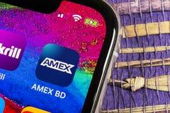 Amex-Anwendungsikone auf Apple-iPhone X Smartphone-Schirmnahaufnahme Amex-APP-Ikone American Express ist ein elektronisches on-li stockfotos