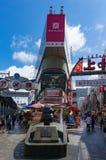 Ameyoko outdoor market near Ueno station, Tokyo, Japan. Tokyo, Japan - August 29, 2016: Ameyoko outdoor market near Ueno station. Text in Japanese advertise Stock Photography