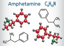 Amfetamine amphetamine, C9H13N molecule, is a potent central n. Ervous system CNS stimulant. Structural chemical formula and molecule model. Vector illustration Stock Photo