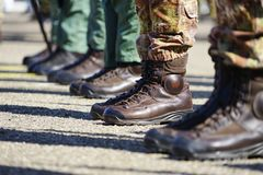 Amfibische schoenen die zij in de Italiaanse militairen hebben gedragen Royalty-vrije Stock Fotografie
