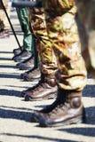 Amfibische schoenen die zij in de Italiaanse militairen hebben gedragen Royalty-vrije Stock Foto