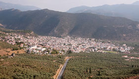 Amfissa City. The city of Amfissa (central Greece), as seen from above stock image