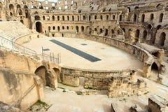Amfiteater av El Jem i Djem, Tunisien royaltyfri fotografi