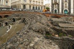amfiteater catania roman sicily Arkivbild