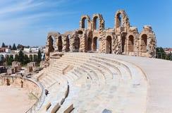 Amfiteater i El Djem, Tunisien Arkivbilder