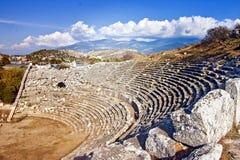 Amfiteater i Letoon nära den forntida Lycian staden Xanthos kalkon Royaltyfria Bilder