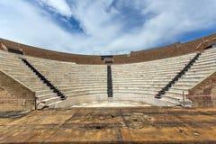 Amfiteater i Roman Odeon, Patras, Peloponnese, Grekland arkivbild