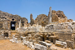 Amfiteater i sidan, Turkiet Royaltyfri Fotografi