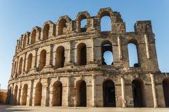Amfiteatern för El Djem, den mest mäktiga romaren återstår i Afrika Mahdia Tunisien arkivbild