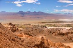 Amfiteatr, Valle de los angeles Luna, dolina księżyc za zachód od San Pedro, Atacama pustynia Chile obraz stock