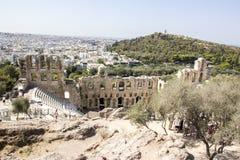 Amfitheater in de stad van Athene, Griekenland Mening van hierboven stock afbeelding