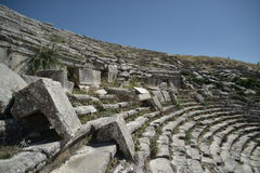 Amfitheater in Sagalossos, antic city. Ruins of beautiful antic city Sagalossos in Turkey stock photography