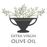 Amfora z gałązkami oliwnymi Symbol Śródziemnomorska kultura ilustracji