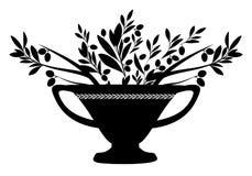 Amfora z gałązkami oliwnymi Symbol Śródziemnomorska kultura royalty ilustracja