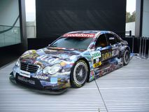 AMG Mercedes DTM car. AMG Mercedes Benz C Class DTM car with adds before race in Germany Stock Image