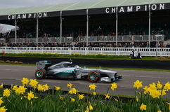 2013 AMG Mercedes Formula 1 car. Lewis Hamiltons 2013 AMG Mercedes Formula 1 race car at the 73rd GRRC members meeting in March 2015 at the Goodwood circuit in Stock Photo