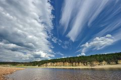 Beautiful summer landscape of the Amga River. stock image