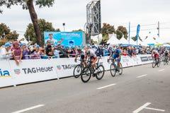 Amgen turnerar av Kalifornien Arg m?llinje f?r cyklister i den Morro fj?rden vinnarear royaltyfri fotografi