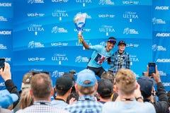 Amgen turnerar av Kalifornien 2019 M?llinje f?r etapp 4 i den Morro fj?rden vinnarear royaltyfria foton
