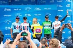 Amgen turnerar av Kalifornien 2019 M?llinje f?r etapp 4 i den Morro fj?rden vinnarear royaltyfria bilder