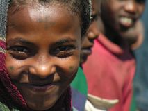 Amhara, Ethiopia, 11th December 2006: Girl from a rural community smiling stock image