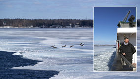 Amherst Island Ferry Crossing - Lake Ontario March 2014 Royalty Free Stock Image