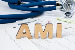 AMI Acronym of afkorting aan medisch concept of diagnose van scherpe myocardiaal infarct of hartaanval Word stan de brieven van A Stock Afbeelding