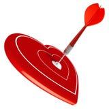 Ami, centro di colpo del dardo di cuore, il giorno del biglietto di S. Valentino Immagini Stock