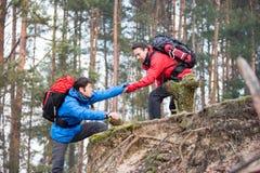Ami de aide de jeune randonneur masculin tandis que trekking dans la forêt Images libres de droits