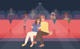 Ami et amie s'asseyant dans la salle de cinéma ou le hall stéréoscopique de cinéma Jeune homme et femme en verres 3d illustration de vecteur