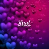 Ami i cuori rossi realistici romantici 3D che splendono il fondo del bokeh del cuore Fotografia Stock Libera da Diritti