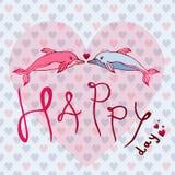 Ami i delfini, l'amore di concetto, il giorno felice Cartolina d'auguri o illustrazione di vettore della cartolina Fotografia Stock Libera da Diritti