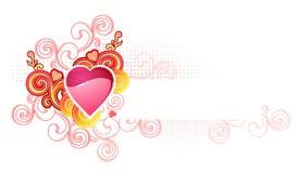 Ami il cuore con lo spase/biglietto di S. Valentino e la cerimonia nuziale/ Fotografia Stock Libera da Diritti