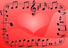 Ami il cuore di musica, priorità bassa di simboli delle note musicali Fotografie Stock
