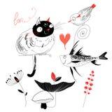 Ami il gatto con i pesci e l'uccello Fotografia Stock