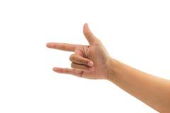 Ami il segno del dito dalla mano della donna dell'Asia su fondo bianco isolato Immagini Stock Libere da Diritti