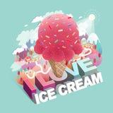 Ami infographic isometrico piano 3d di concetto del gelato illustrazione di stock