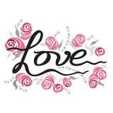 Ami l'illustrazione d'annata con le rose della pittura decorate elemento dell'iscrizione della mano su bianco royalty illustrazione gratis